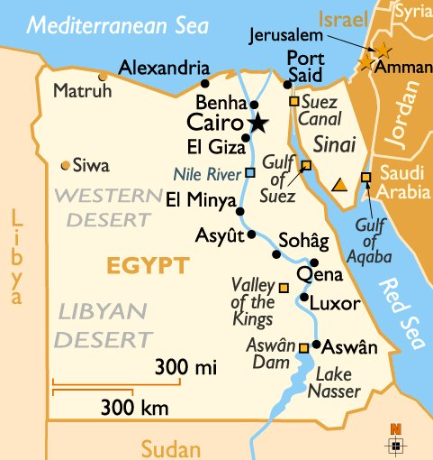 Egypt Around The World Vacation - Map of egypt ports