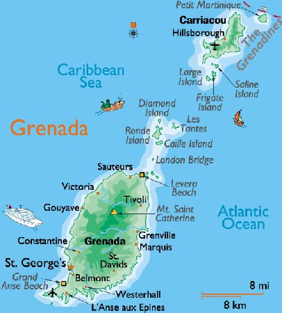 Grenada February Vacation - Map of grenada world